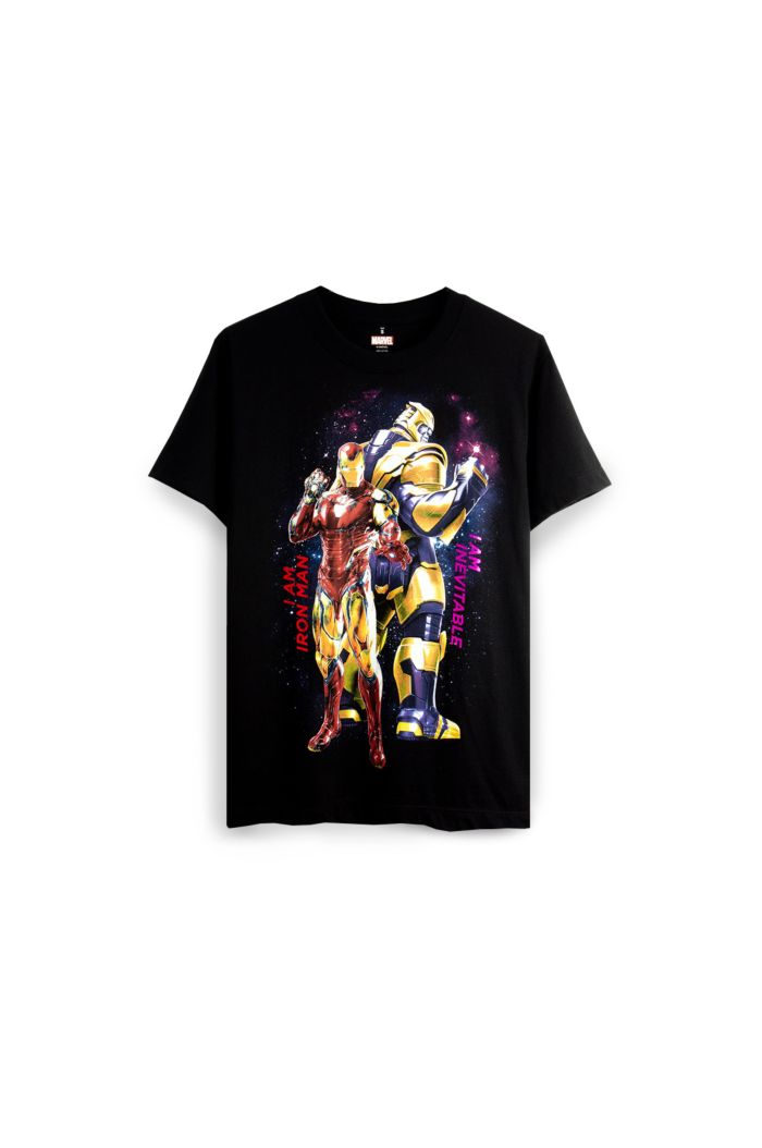 MARVEL END GAME IRON MAN & THANOS GLOW T-SHIRT