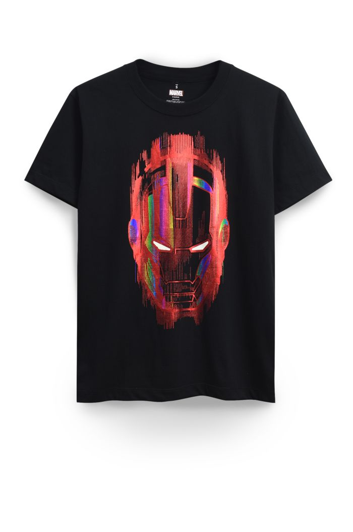 MARVEL IRON MAN MASK GLOW T-SHIRT BLACK XS
