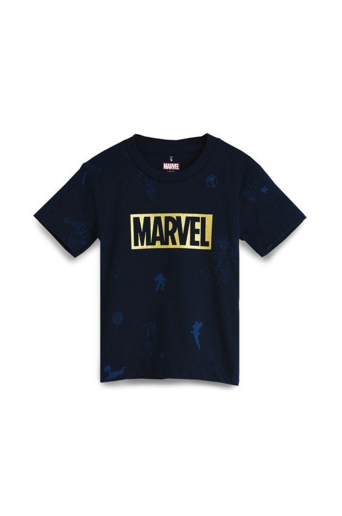 MARVEL AVENGERS ALLOVER T-SHIRT - KIDS NAVY S