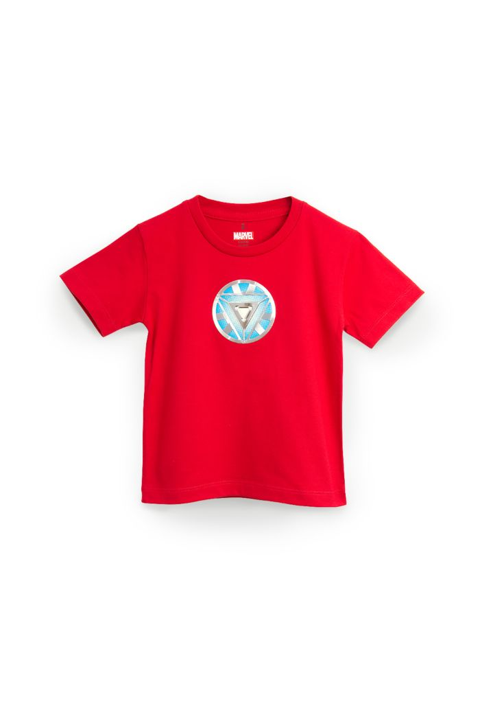 MARVEL END GAME IRON MAN REACTOR GLOW T-SHIRT - KIDS RED S