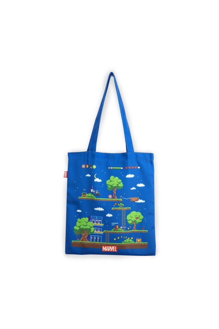 MARVEL 4 HEROS GAME CANVAS TOTE BAG NAVY 39cm x 35.5cm