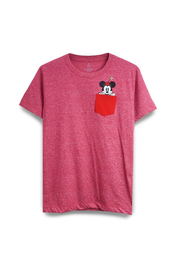 MINNIE PEEK POCKET T-SHIRT HEATHER RED XS