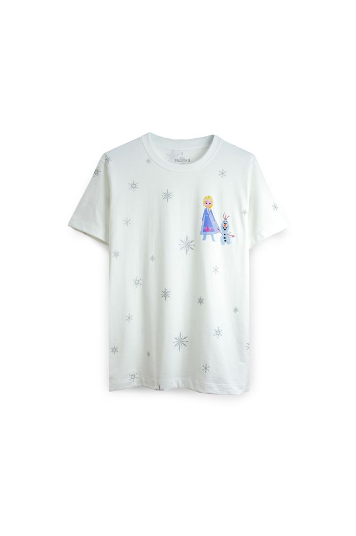 FROZEN II SNOWFLAKES ALL-OVER T-SHIRT WHITE XS