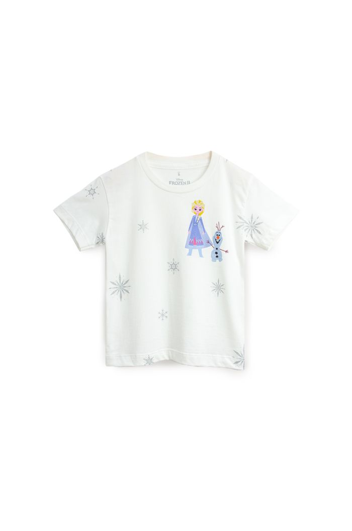 FROZEN II SNOWFLAKES ALL-OVER T-SHIRT - KIDS WHITE S