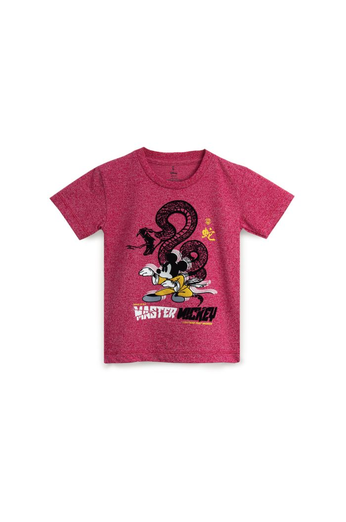 MICKEY SNAKE STYLE T-SHIRT - KIDS HEATHER RED S