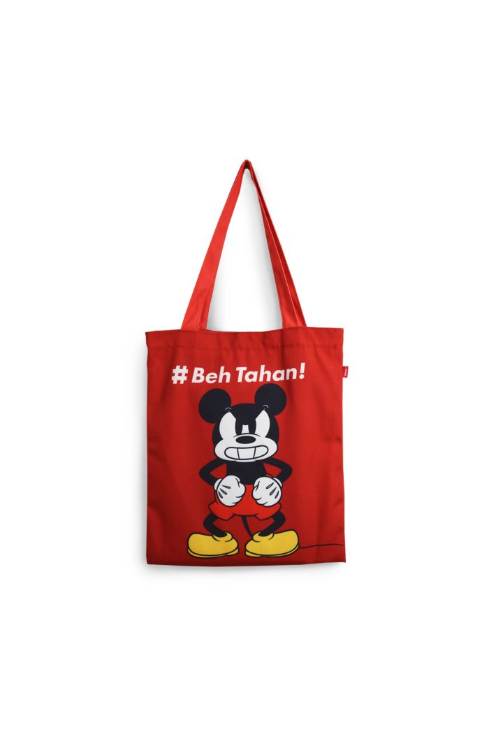MICKEY BEH TAHAN CANVAS TOTE BAG RED 39cm x 35.5cm
