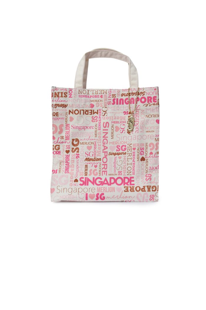 SINGAPORE TYPO WORDING LUNCH BAG PINK 23.5cm x 23.5cm