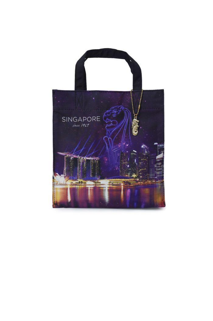 SINGAPORE LASER LIGHTS LUNCH BAG BLACK 23.5cm x 23.5cm