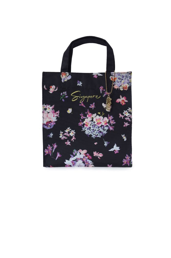 SINGAPORE ORCHIDS BOUQUETS LUNCH BAG BLACK 23.5cm x 23.5cm