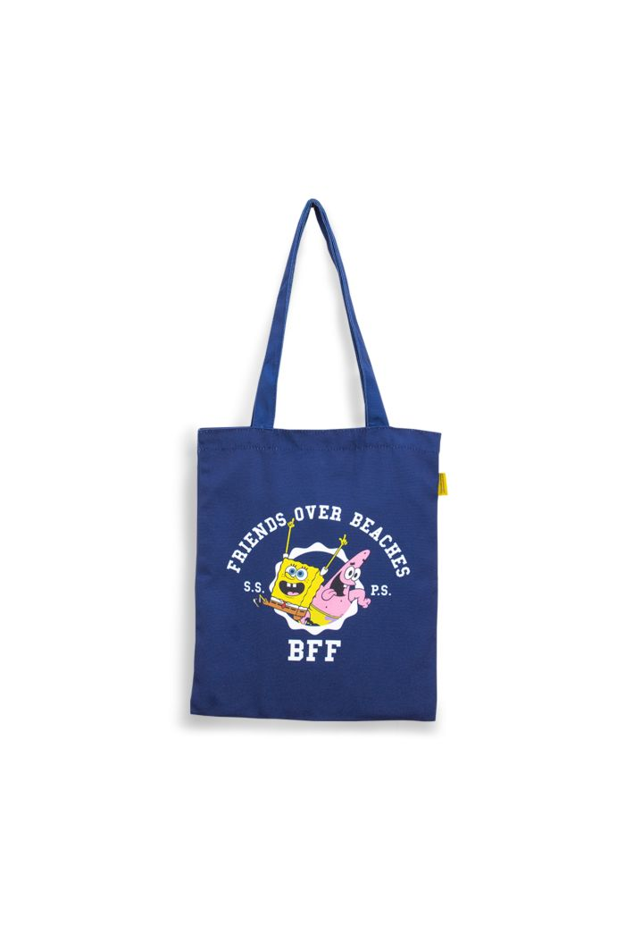 SPONGEBOB BFF CANVAS TOTE BAG NAVY 39cm x 35.5cm