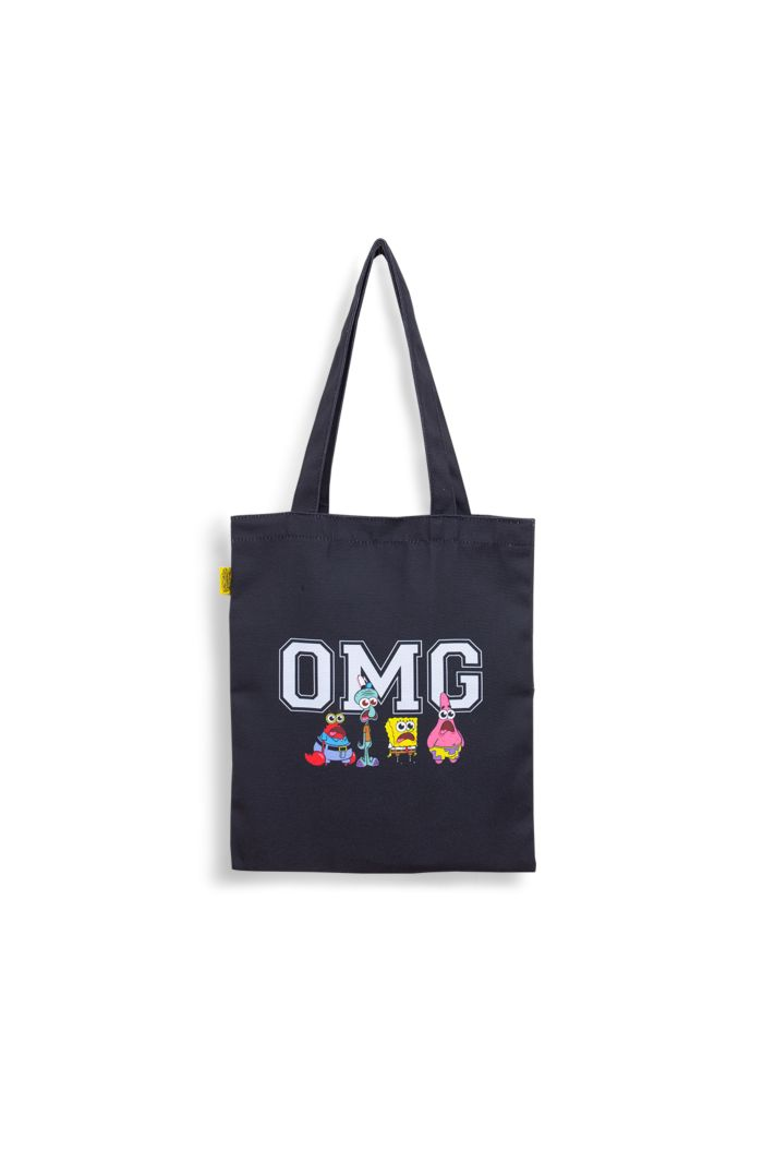 SPONGEBOB OMG CANVAS TOTE BAG BLACK 39cm x 35.5cm