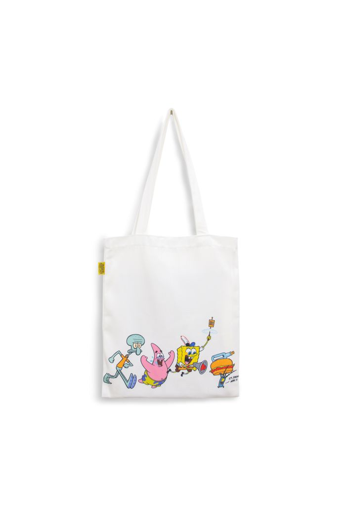 SPONGEBOB CHASING CANVAS TOTE BAG WHITE 39cm x 35.5cm
