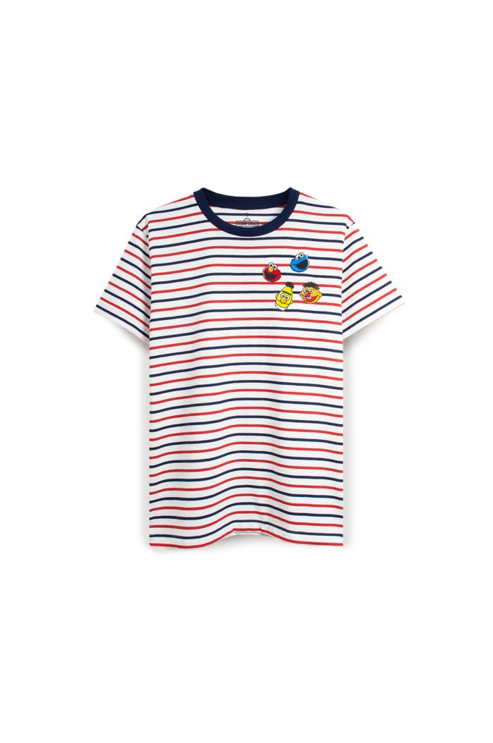 SESAME 4 HEADS T-SHIRT WHITE STRIPE XS