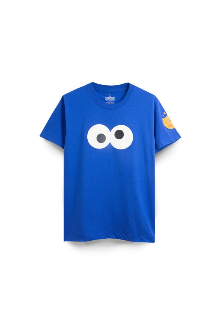 SESAME COOKIES MONSTER FACE T-SHIRT BLUE XS
