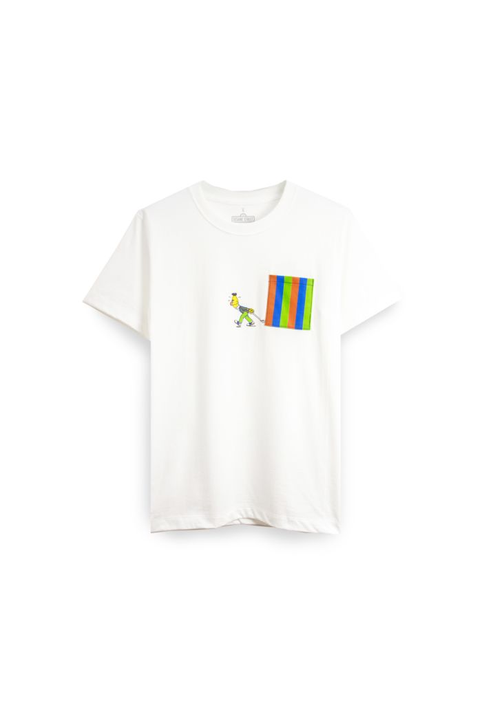 SESAME BERT POCKET T-SHIRT WHITE XS