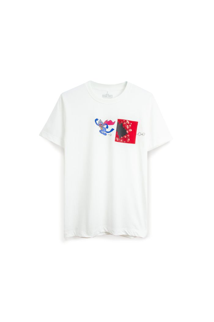 SESAME SUPER GROVER POCKET T-SHIRT WHITE XS