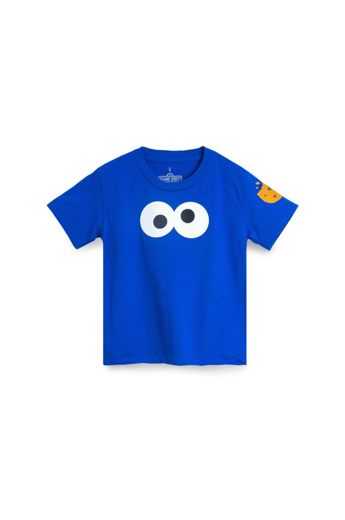 SESAME COOKIES MONSTER FACE T-SHIRT - KIDS BLUE S