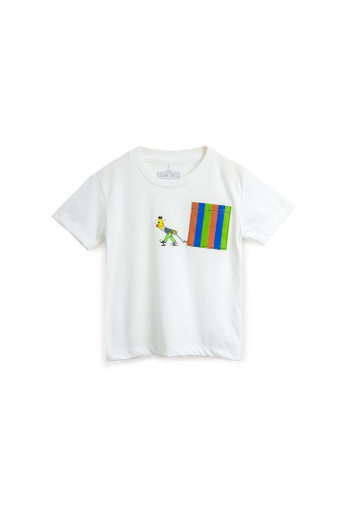 SESAME BERT POCKET T-SHIRT - KIDS WHITE S