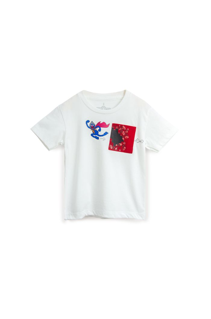 SESAME SUPER GROVER POCKET T-SHIRT - KIDS WHITE S