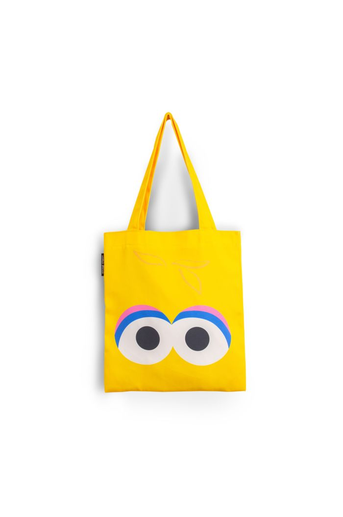 SESAME BIG BIRD FACE CANVAS TOTE BAG YELLOW 39cm x 35.5cm