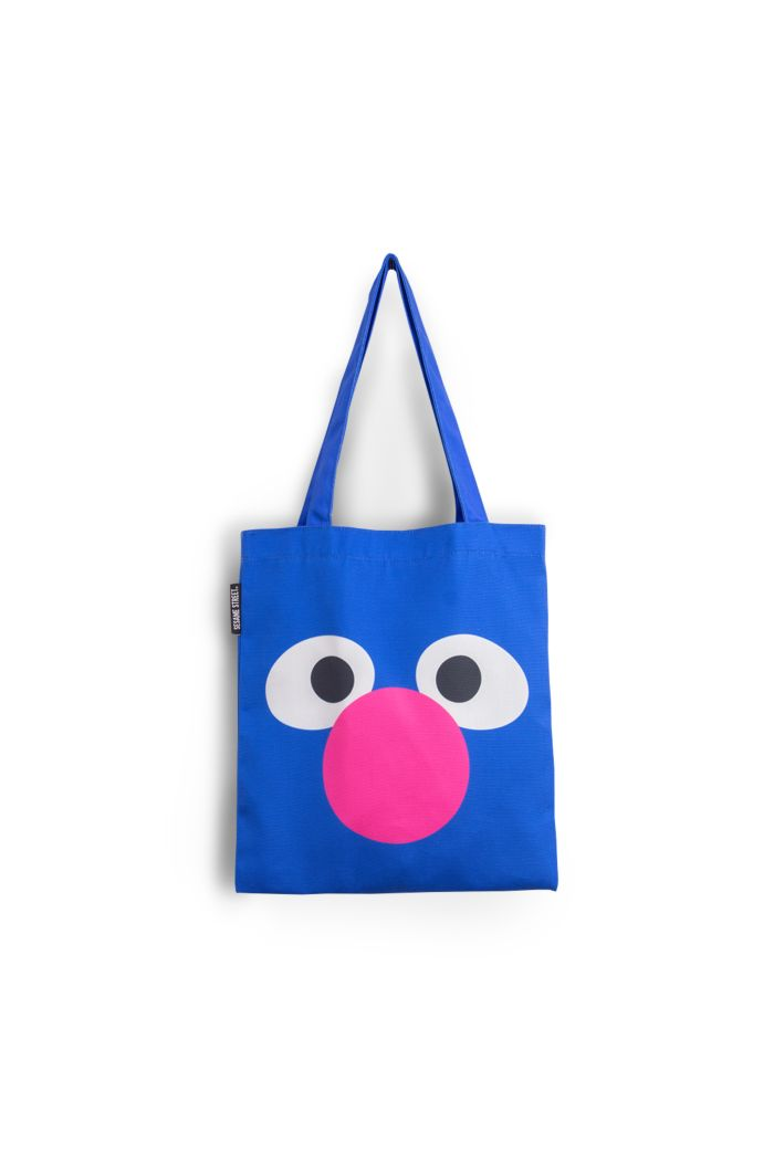 SESAME SUPER GROVER FACE CANVAS TOTE BAG BLUE 39cm x 35.5cm