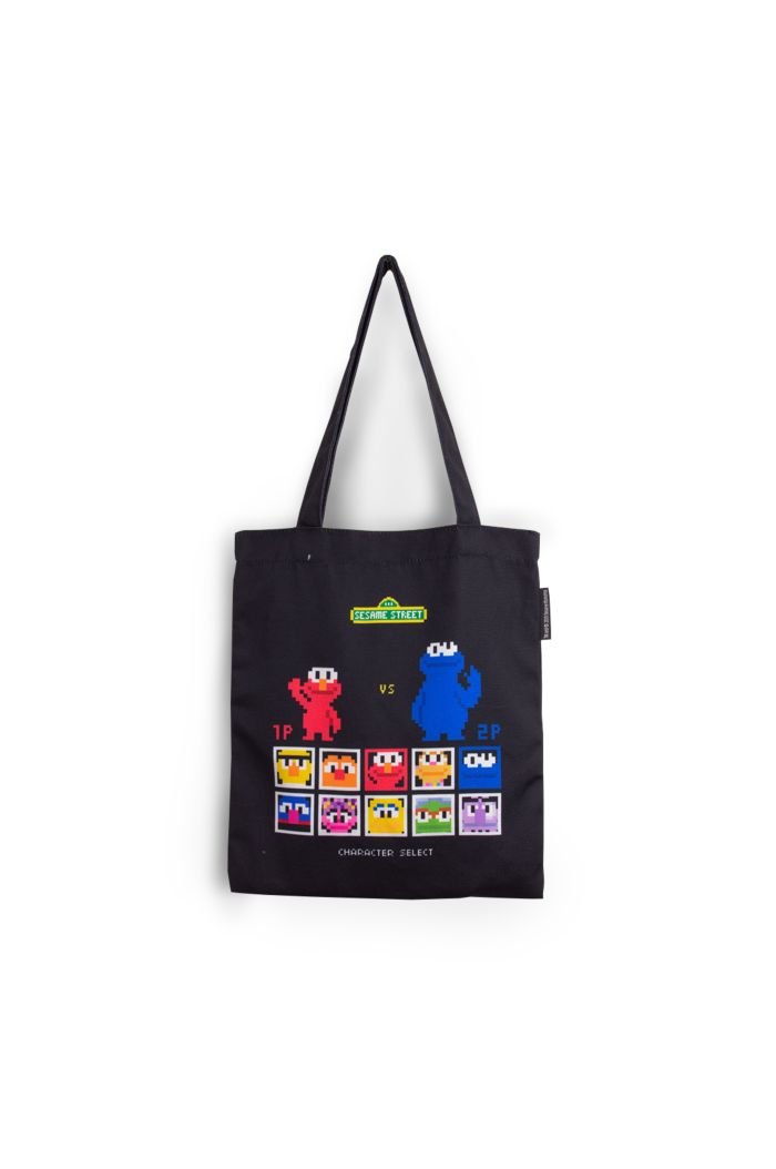 SESAME GAME CANVAS TOTE BAG BLACK 39cm x 35.5cm