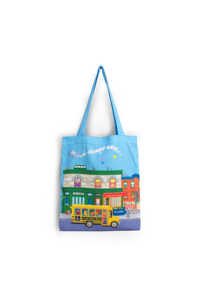 SESAME STREET WE LIVE ON CANVAS TOTE BAG BLUE 39cm x 35.5cm
